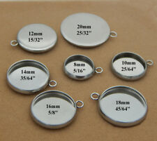 Stainless Steel Silver Round Pendant Tray Cabochon Bezel Setting Blank Base Cup