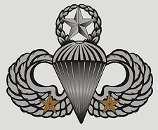 US ARMY JUMP MASTER WINGS WITH TWO COMBAT STARS(TWO JUMPS) STICKER !