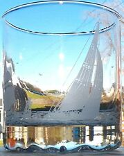 LOVELY COLLECTIBLE CRYSTAL GLASSES HEAVY BASE FROSTED ETCHING SAILBOATS & MAPLE