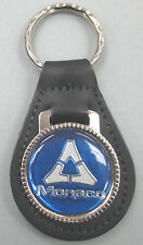 Vintage Blue / White Triangle Dodge MONACO Black Leather Keyring Key Fob