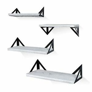 Floating Shelves Wall Mounted Set of 4, Rustic Wood Wall Shelves, Storage Grey