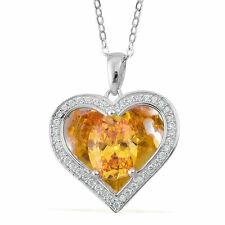 "CANARY YELLOW & WHITE SIMULATED DIAMOND HEART LOVE NECKLACE 18"" STERLING SILVER"