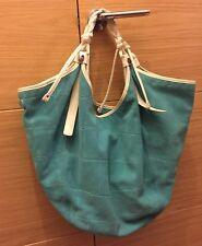 FRANCESCO BIASIA Authentic beautiful turqouise suede leather large bag