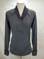 Lululemon Womens Long Sleeve Runner Top Size 8 Black Herringbone 1/4 Zip Jacket