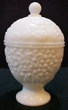 Vintage Avon white milk glass compote floral egg candy dish bowl w lid Free S/H