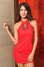 Red Dress Sequin Aztec Necklace Halter Stretch Chemise Mini Club Lingerie 2568