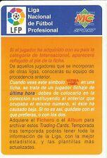 N°397 # CHECK LIST OFFICIAL TRADING CARD MUDICROMO LIGA 1996