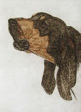 GEOFFREY LASKO - BLACK & TAN (COON HOUND) - ORIGINAL ETCHING - S&N - FREE SHIP