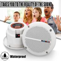 Pair 2 Way Indoor/Outdoor Waterproof Ceiling Speaker Full Range Home Theater