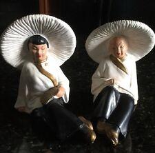 Mid Century Pair Of Asian Figurines In Chalkware
