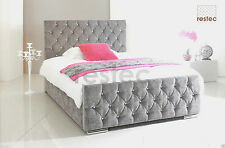 Bed Frame Chenille Upholstered Diamante All Colours and Sizes
