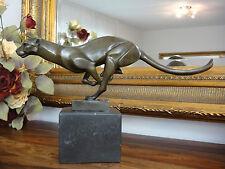 Bronze Marmor Gepard Leopard Jaguar Panther Puma Tiger Löwe Figur Statue Edel