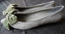 Timeless Grey Faux Suede Low Heels With Velvet Bow UK 3