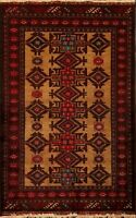 Tribal Brown Geometric Balouch Afghan Oriental Area Rug Hand-Knotted Carpet 3x5