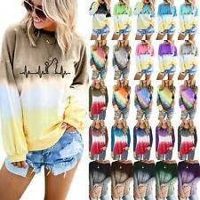 Women Gradient Long Sleeve T-Shirt Loose Baggy Casual Blouse Tunic Top Plus Size