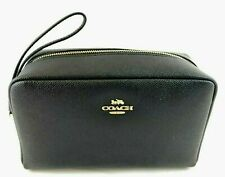 Coach Crossgrain Leather Black Cosmetic Bag 20 F24797