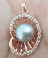 HOT HUGE 10-11 MM NATURAL GRAY SOUTH SEA PEARL ROSE GOLD PENDANT NECKLACE