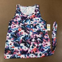 Ideology Women's Size Medium Colorful Floral Blue Side Tie Athletic Tank Top NWT