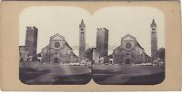 Verona San Zeno Italia Foto Estéreo Vintage Albúmina Aprox 1860