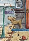 ACEO Contemporary Original Watercolour Painting Beach Hut~Dog~Ladybug~Spider
