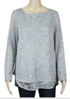 New WOMAN'S SILVER GREY MIX MOCK LAYER Top Ex M&S Size 8 - 18 RRP £32