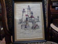 Framed Hand colored ink drawing of Lighthouses - BILL CSATARY