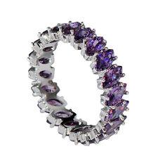 Women's Fashion Jewlery 925 Silver Amethyst Wedding Engagement Band Ring Size 6