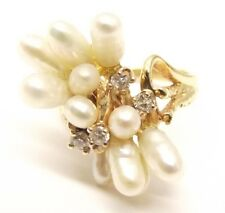 Vtg 14K Gold Rice Pearl Diamond Cluster Ring Sz 5.5 Freshwater Baroque Estate
