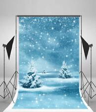 Dreamy Winter Snow Scene Backdrop Trees Background Studio Boken Photo Prop 7x5ft