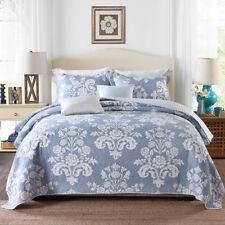 100% Cotton Coverlet / Bedspread Set Quilt Queen & King Size Bed 230x250cm Blue