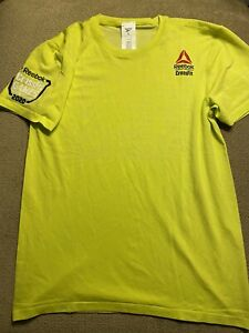 Reebok Running T Shirt Crossfit Mens Solar Yellow Short Sleeved Sports Tee Small