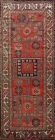 Antique 20th Century Tribal Geometric Lori Hand-knotted Rust Runner Rug Wool 4x9