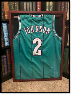Grand MaMa Hornets Jersey ✎SIGNED🏀 by LARRY JOHNSON New PSA COA XL NBA Legend
