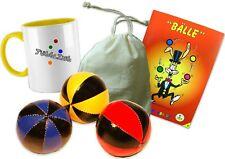 Jonglierball Geschenk Set: Beanbags, Tasse, Beutel, Trick-Fibel / Rot-Gelb-Blau