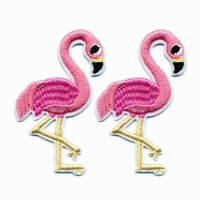 3x Fabric Flamingo Sew Iron On Patch Badge Bag Jeans Applique Embroidery Craft
