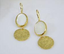 OttomanGems semi precious gem stone gold plated earrings Mother Pearl handmade