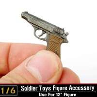 "1/6th Scale PPK Dragon Weapon Pistol Gun Model For 12"" Soldier Figure Body Toys"