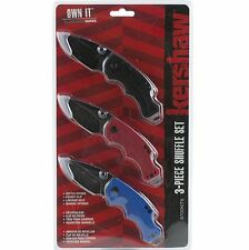 Kershaw Black Blue Red Handle Shuffle Linerlock Pocket Knives Set of 3