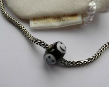 Genuine Trollbead Black and White Smiley Limited Edition Glass Bead
