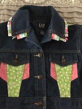 GAP Jean Jacket Girl's M 7/8 Dark Wash Embellished Adorned Ribbons