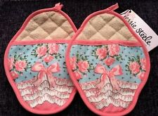 Set of 2 Pot Holders Oven Pot Mitts Shabby Jessie Steele Chic Roses Bows Pinks