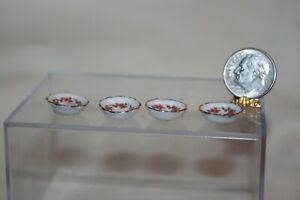 Miniature Dollhouse Reutter Porzellan 4 Pink Floral & Gold Finger Bowls? 1:12 NR