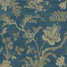 Wallpaper Dark Blue Gold Taupe Jacobean Floral Vine