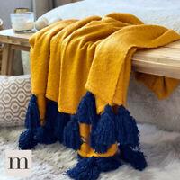 Luxury Large Soft Woollen Feel Mustard Yellow Navy Tassel Sofa Bed Blanket Throw