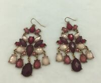 "Pink Burgundy Faceted Chandelier Pieced Earrings Gold Toned Over 2"" Long Dreamy!"