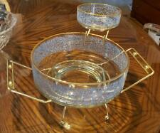Vintage Glass Blue And White Sparkles With Gold Base Chip And Dip Round Bowl Set