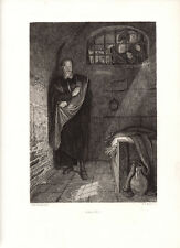 """Nice Carlo PILOTY 1800s Historic Engraving """"Galileo in Prison"""" SIGNED Framed COA"""