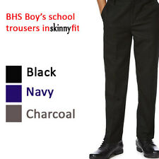 Boys School Trousers EX BHS Skinny Fit Black,Navy,Grey, Charcoal 11-16 Years