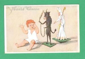 VINTAGE B. KAZIMA CZECH CHRISTMAS POSTCARD CRYING CHILD KRAMPUS ST. NICHOLAS