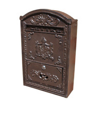 Antique Style Cast Iron And Wood Wall Mounted Post Letter Mail Box
